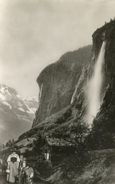 The Staubbach Falls - a waterfall in Switzerland, located just above Lauterbrunnen in the Bernese Oberland