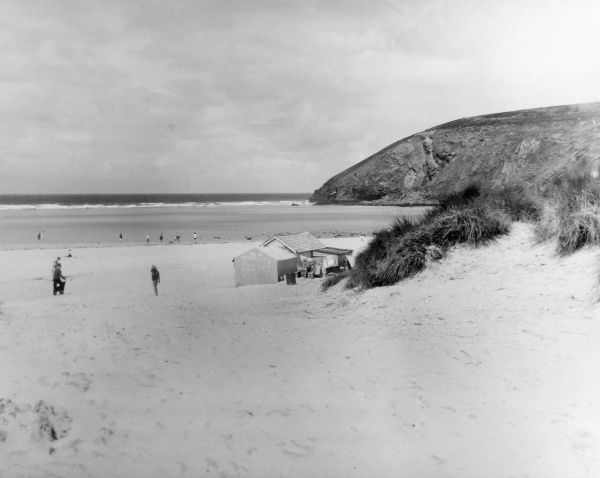 The sand dunes of Watergate Bay, Newquay, Cornwall, England. Date: 1960s