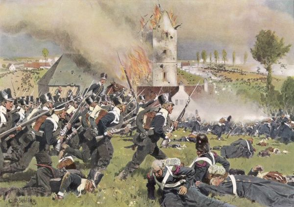 NAPOLEONIC WARS The second Prussian regiment attacks at Plancenoit (Belle Alliance)