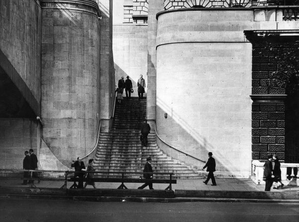 The steps of Waterloo Bridge, central London, built mostly by women during World War Two, to a design by Giles Gilbert Scott. Date: completed 1945