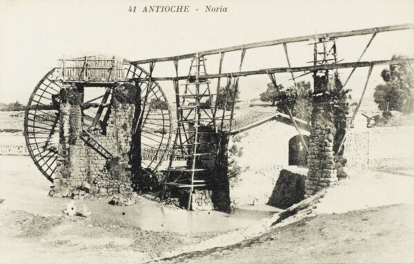 Antioch - Antakya (Turkish) - on the Orontes River in the far south of modern Turkey. One of the large waterwheels for which Antioch is famed