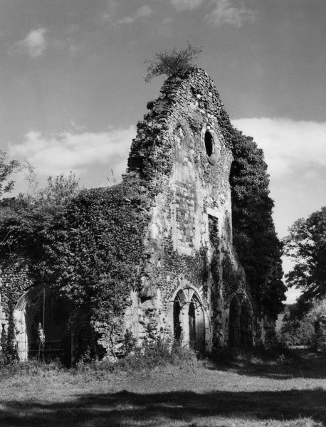 Waverley Abbey, near Farnham, Surrey, England. Founded by William Gifford, Bishop of Winchester, it was the first Cistercian abbey in England. Date: founded 1128