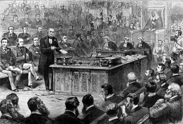 Engraving showing William Ewart Gladstone (1809-1898), the English Liberal statesman (centre left), addressing the House of Commons during a debate on Irish Home Rule, 8th April 1886. Gladstone twice tried to introduce a Home Rule Bill for Ireland
