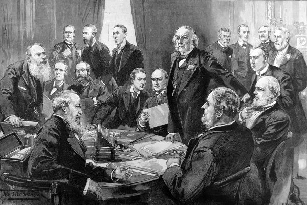 Engraving showing the first meeting of Gladstone's new Cabinet Council, 1892. Those illustrated are: Top row, left to right: Mr. Henry Fowler, Mr. Shaw-Lefevre, Mr. John Morley, William Ewart Gladstone, Sir George Trevelyan, Mr. Arthur Acland, Mr