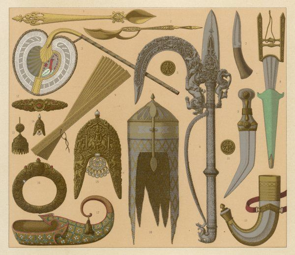 Assorted weapons and other artefacts from India