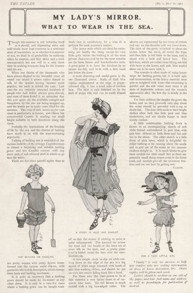 Three sketches showing the latest in summer beach wear,. The woman's bathing suit in the middle is described as a 'most charming and useful gown', with an emphasis on simplicity and light, airy materials