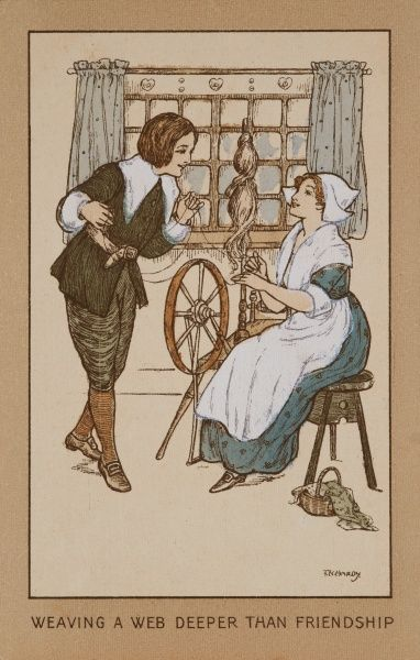 Weaving a web deeper than friendship. An amorous advance by a young man toward a lady weaver working at her spinning wheel