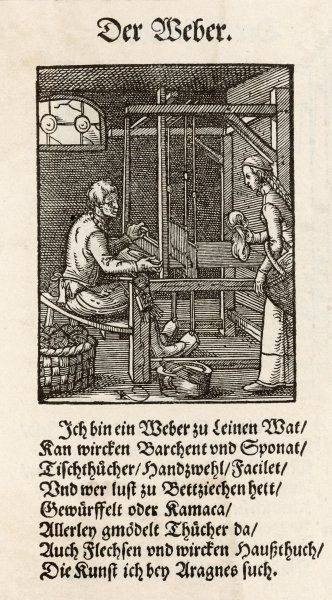 A weaver at his loom ; his wife is arriving with fresh hanks of wool