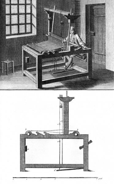 A man weaving on a hand-loom, operating the treadles with his feet. Date: Circa 1760
