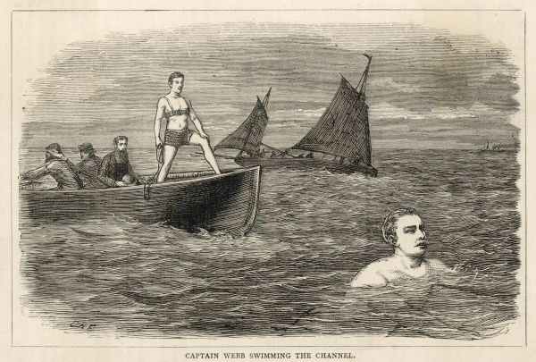 Captain Webb nears the French coast in the first successful attempt to swim the English Channel