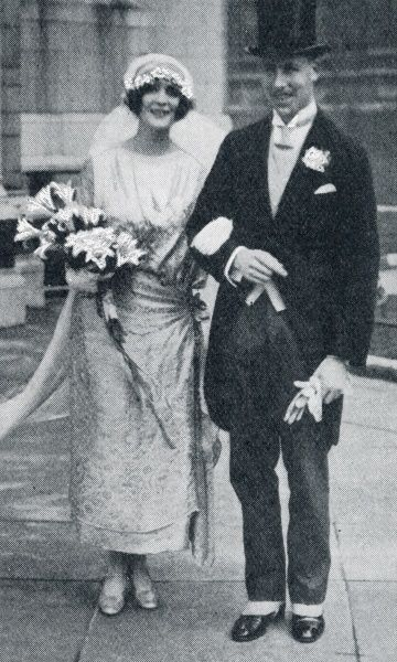 Captain Lenanton with his new bride outside St Margaret's, Westminster