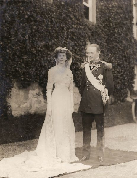 Dom (Prince) Miguel of Braganza (1878-1923), Duke de Viseu, eldest son of Duke Miguel, grandson of a former King of Portugal, with his American bride, Miss Anita Stewart (1886-1977) shortly after their wedding ceremony at Tulloch Castle, Scotland