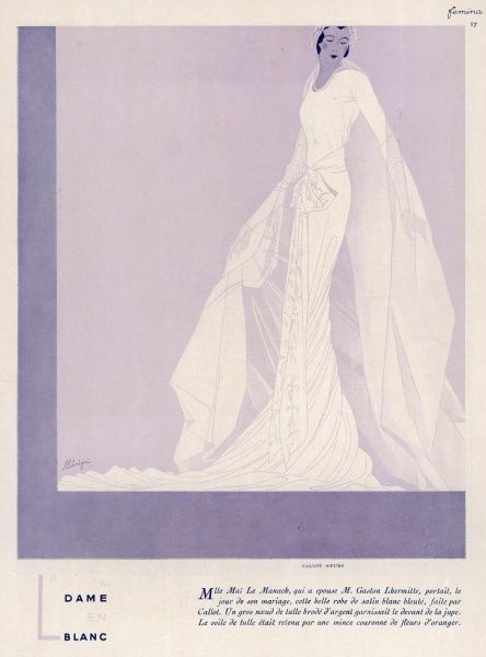 A wedding dress of white and pale blue satin by Callot. Large knot of gold embroidered tulle ties in front of the skirt. Veil of tulle worn