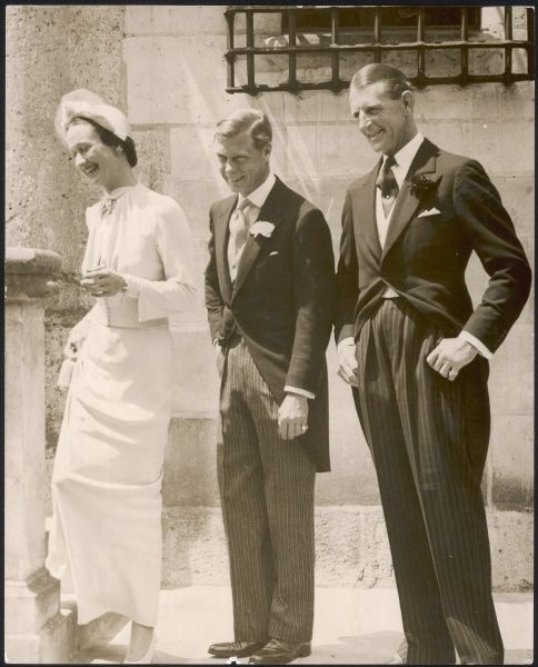 Wedding day of the Duke of Windsor (formerly King Edward VIII) to Mrs Wallis Simpson on the 3rd June 1937 at the Chateau de Cande, near Tours in France. The couple are pictured with 'Fruity' Metcalfe, the Duke's closest friend
