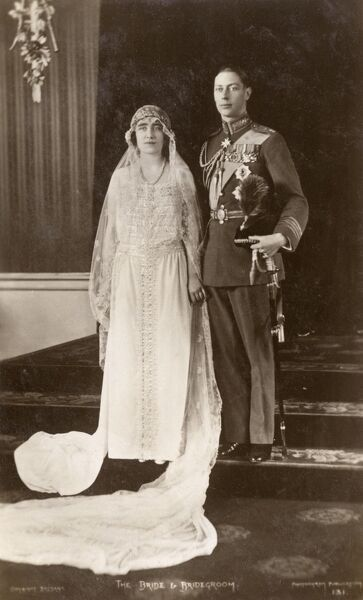 The wedding of Prince Albert, Duke of York (future King George VI; 1895-1952) and Elizabeth Bowes-Lyon (future Queen Elizabeth The Queen Mother; 1900-2002) on 26th April 1923. Date: 1923