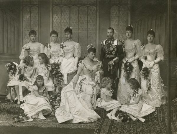 Wedding of King George V, then Duke of York, to Princess Victoria Mary of Teck, later Queen Mary on 6 July 1893