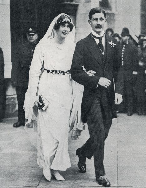 A photograph of Harold Macmillan and Lady Dorothy Macmillan leaving St Margaret's, Westminster