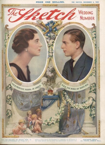 Special wedding number front cover celebrating the marriage of Prince George, Duke of Kent and Princess Marina of Greece, later Duchess of Kent in November 1934. Date: 5th December 1934