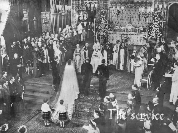 Scene inside Westminster Abbey, London, during the wedding of Princess Elizabeth and Prince Philip