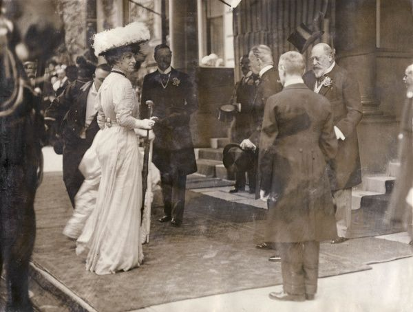 Scene after the wedding of Viscount Bury (Walter Egerton George Lucian Keppel, 9th Earl of Albemarle, 1882-1979) and Lady Judith Sydney Myee Wynn Carrington, at St Margaret's Church, Westminster