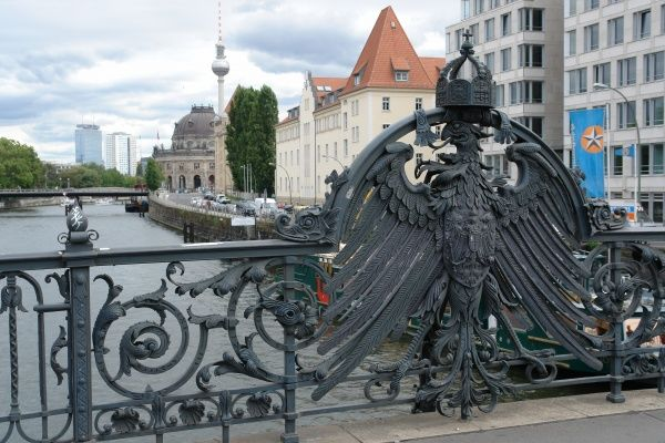 Detail showing the German Eagle with the Imperial Crown on the Weidendammer Bridge across the River Spree in Berlin, Germany, built between 1895 and 1896