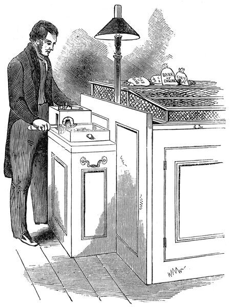 In June 1842 all light sovereigns were recalled to the Bank of England and weighed. If they were below the standard weight they were defaced and cut using this machine
