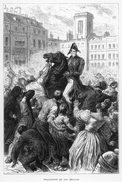 Arthur Wellesley, duke of WELLINGTON soldier and statesman, depicted being attacked by the London mob for his anti-reform bill views, circa 1830
