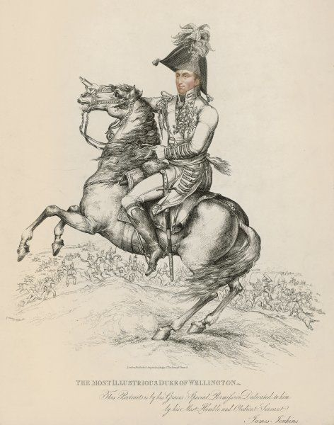 Arthur Wellesley, duke of Wellington, soldier and statesman, on horseback in 1814