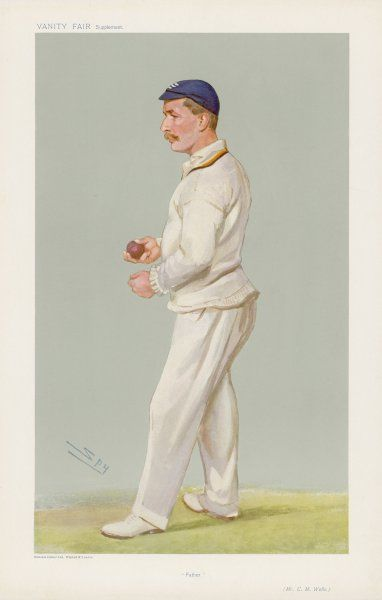 C M Wells, English cricketer, seen here about to bowl