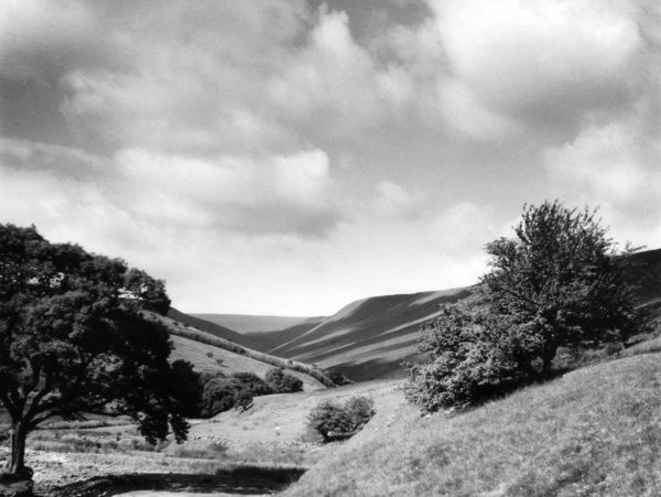 A picturesque Welsh valley, near Two Bridges, Brecknockshire, Wales. Date: 1950s