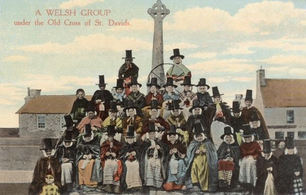 Welsh Women in Traditional Costume by The Old Cross at St Davids, Pembrokeshire, Wales Date: circa 1910s