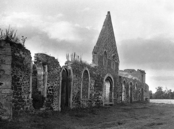 The ruins of the Abbey at West Dereham, Norfolk, England. These remains were once the Abbey Church. Date: 12th century