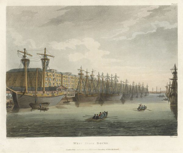The West India Docks in the great age of English trade - vessels lining the quays as far as the eye can see. Imports from the West Indies were especially important