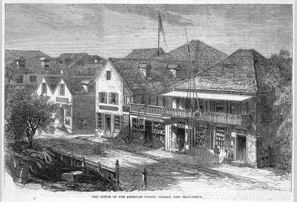 Street scene in Nassau, featuring the office of the American consul