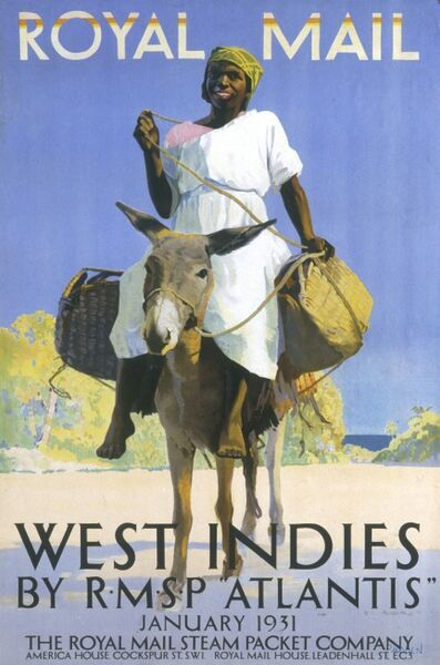 Poster advertising the service to the West Indies by the Royal Mail Steam Packet Company ship RMSP Atlantis. The poster features a colourful and cheery man sitting on a donkey