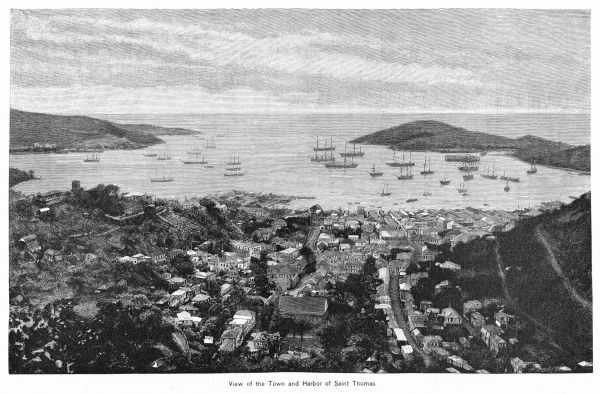 (Virgin Islands) the town and harbour of Charlotte Amalie, viewed from inland
