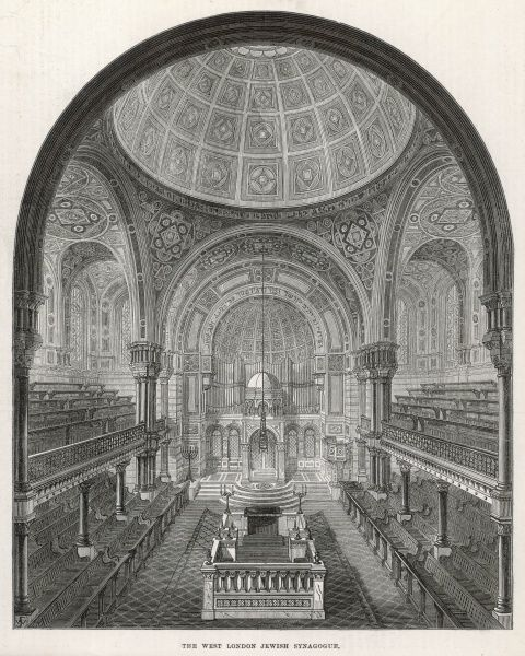 Engraving showing the interior of the West London Jewish Synagogue in Upper Berkeley Street, near Edgware Road, London, 1872