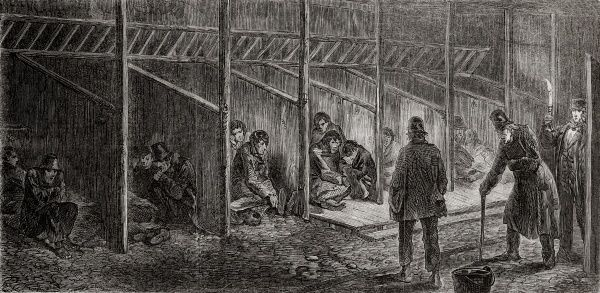 The men's casual ward of the West London Poor Law Union, used to provide overnight accommodation for tramps and vagrants