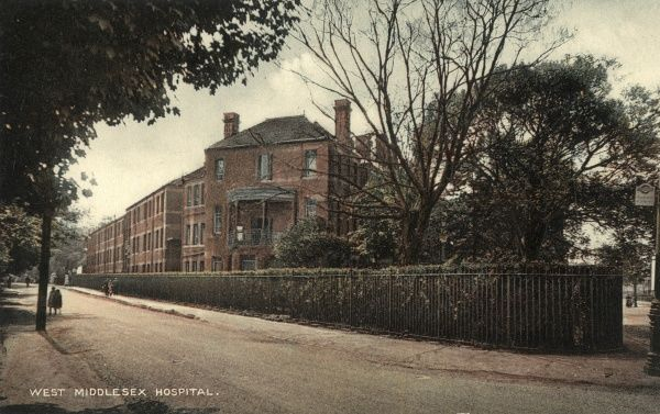 The West Middlesex Hospital, originally erected as an infirmary for the Brentford Union workhouse on Twickenham Road, Isleworth