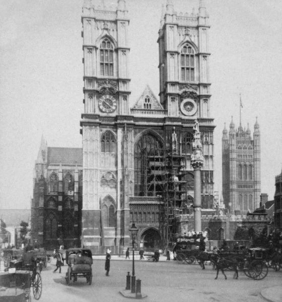 View of the West Front of Westminster Abbey, London, officially known as the Collegiate Church of St Peter at Westminster