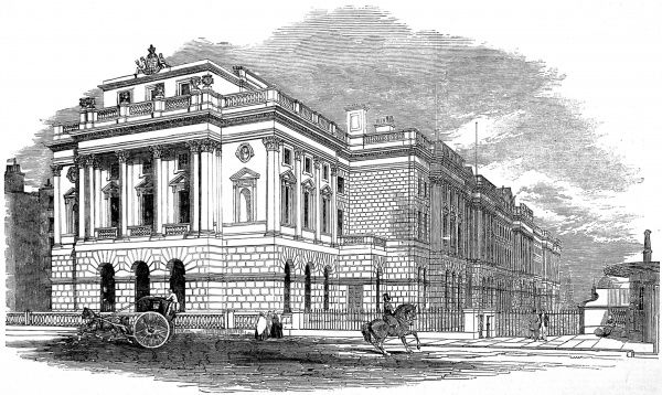 Engraving showing the then newly built West Wing of Somerset House, London, 1853