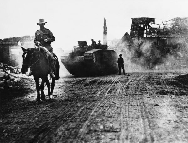 Australian horseman and British tank on the Western Front in France during World War I on 1918