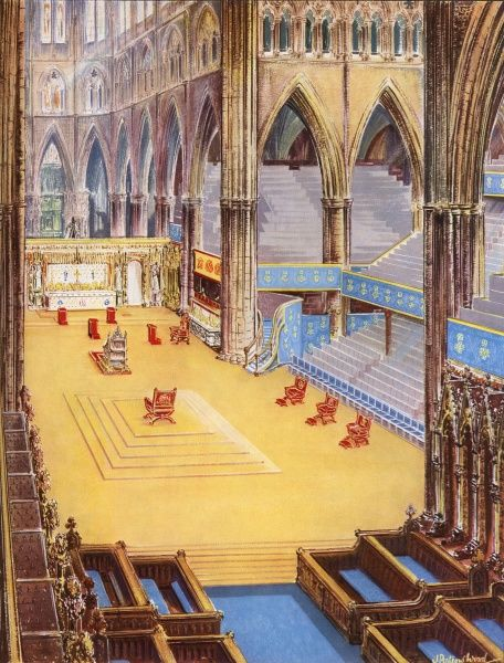 Illustration of the interior of Wesminster Abbey, looking towards the High Altar and featuring the special chairs used as part of the Coronation Service. Date: 1953
