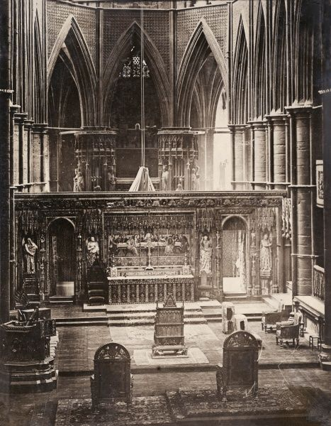 A view of Westminster Abbey, with the Coronation Chair at the centre, ready for the coronation of King George V