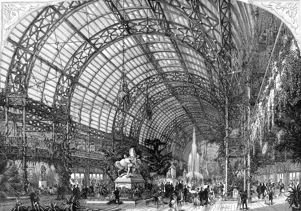 Engraving showing the interior of the Westminster Aquarium and Summer and Winter Garden, London, 1875