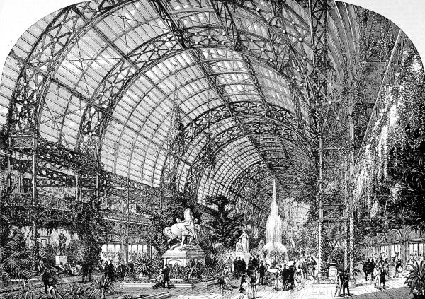 Engraving showing the interior of the Westminster Aquarium and Winter Garden, London, in 1875. This image shows statuary, fountains and folliage under a domed glass roof
