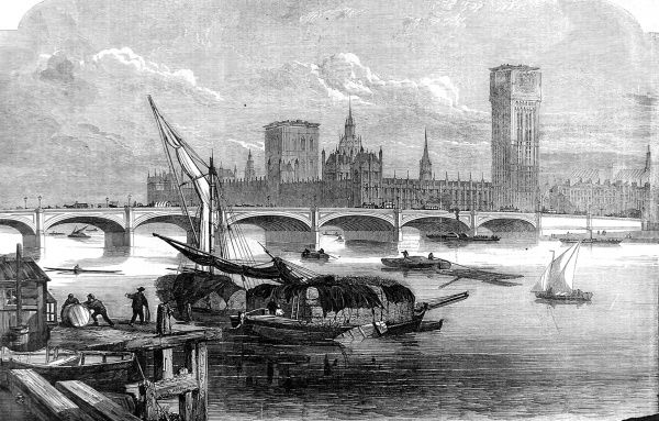 Engraving showing a view of Westminster Bridge, from the South bank of the River Thames, 1855. Several sailing barges, loaded with hay, can be seen in the foreground, whilst in the background the unfinished St. Stephen's Tower is clearly visible