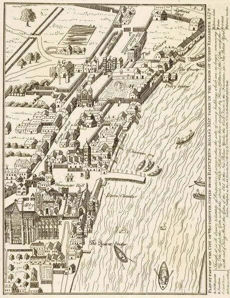Map of Westminster in the Elizabethan period