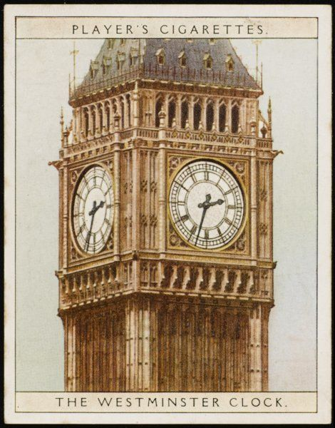 The Westminster Clock on the Houses of Parliament, London. Its bell, Big Ben, gives its name to the clock itself