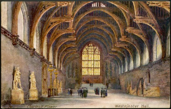 The interior of Westminster Hall, all that is left of the palace of the Anglo-Saxon kings